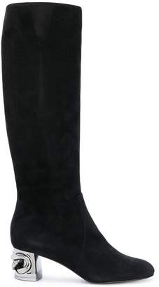 Casadei metallic heel under-the-knee boots