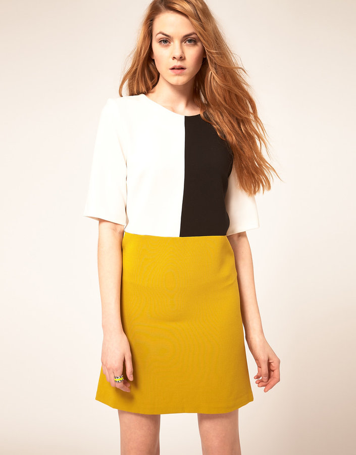 ASOS Shift Dress In Color Block
