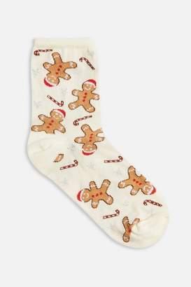 Topshop Womens Christmas Gingerbread Socks