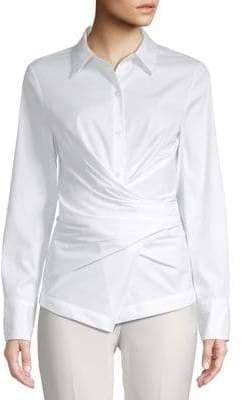 Donna Karan Long-Sleeve Wrap Button-Down Shirt