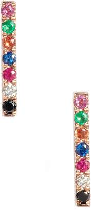 Ef Collection Diamond Rainbow Bar Stud Earrings