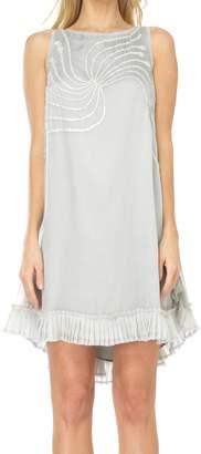 Max Studio Sleeveless Mesh Silk Chiffon Dress With Pailettes