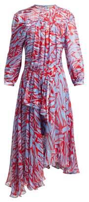 Preen by Thornton Bregazzi Helen Asymmetric Hem Silk Blend Dress - Womens - Red Multi