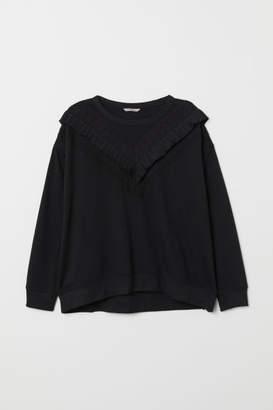 H&M H&M+ Sweatshirt with Ruffle - Black