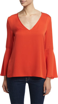 Milly Flutter-Sleeve V-Neck Blouse, Flame $325 thestylecure.com