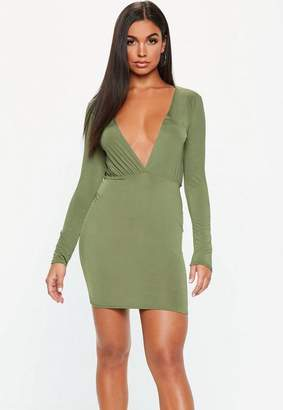 Missguided Khaki Green Plunge Gathered Mini Dress