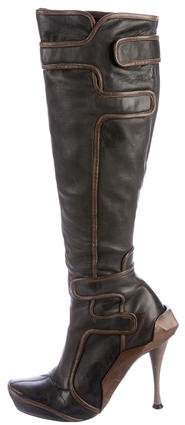 Céline Leather Knee-High Boots