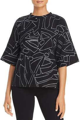 Kenneth Cole Embroidered Shapes Boxy Top