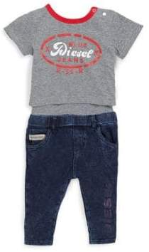 Diesel Baby's Two-Piece Graphic Bodysuit and Cotton Jeans Set
