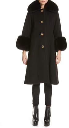 Saks Potts Yvonne Wool Coat with Genuine Fox Fur Trim
