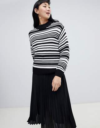 Monki textured crew neck stripe sweater in black and white