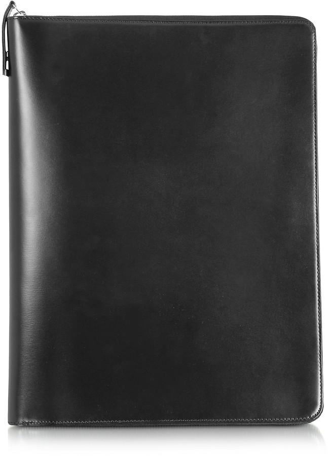 Pineider 1949 A4 Black Leather Notepad Holder w/Zip