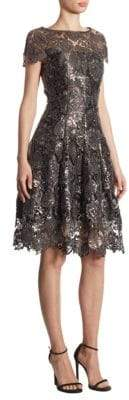 Talbot Runhof Sequin Lace Leaf Dress