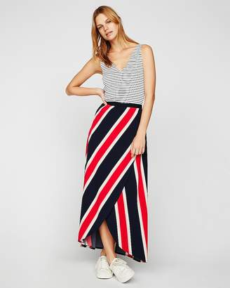 Express Stripe Wrap Front Maxi Skirt