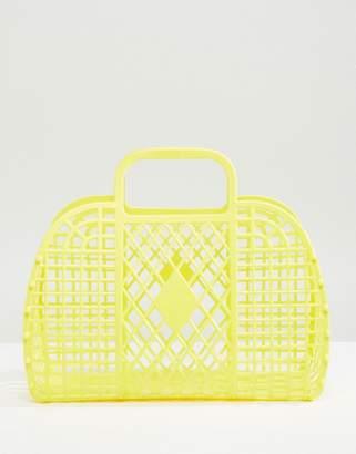 Monki Plastic Basket Bag In Yellow