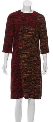 Bottega Veneta Printed Long Sleeve Dress Orange Printed Long Sleeve Dress