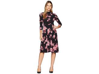 Donna Morgan Mock Neck Fit and Flare Jersey Dress