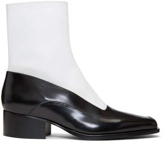 Y/Project Black and White Fitted Ankle Boot