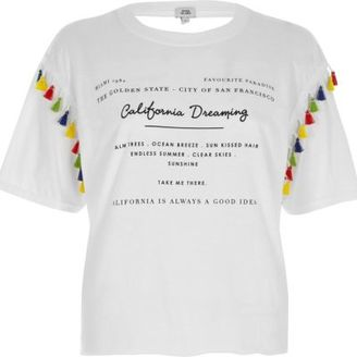 River Island Womens White 'California' print tassel trim T-shirt $40 thestylecure.com