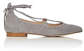 Barneys New York WOMEN'S PERFORATED SUEDE LACE-UP FLATS - GRAY SIZE 5