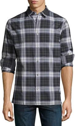 Vince Linen-Blend Plaid Sport Shirt, Multi