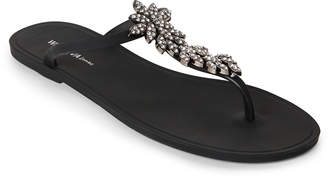 Wild Diva Black Jeweled T-Strap Jelly Sandals