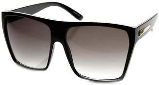 Zerouv Large Oversized Retro Fashion Square Flat Top Sunglasses