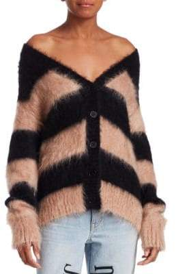 Alexander Wang Mohair-Blend Striped Cardigan