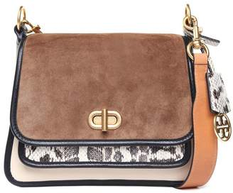 Tory Burch Bennett Mixed Small Suede And Leather Shoulder Bag