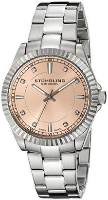 Stuhrling Original Aquadiver Lady Marine Women's Quartz Watch with Pink Dial Analogue Display and Silver Stainless Steel Bracelet 408L.12114