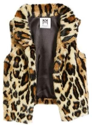 Milly Minis Cheetah Faux Fur Vest, Size 8-16