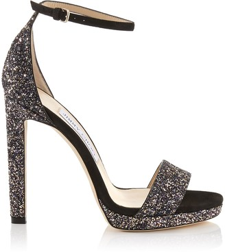 Jimmy Choo MISTY 120 Black Suede and Glitzy Glitter Fabric Platform Sandals
