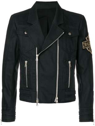Balmain logo patch biker jacket