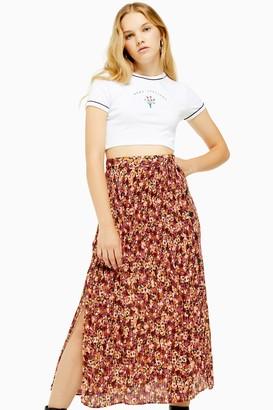 Topshop Floral Pleat Side Button Midi Skirt