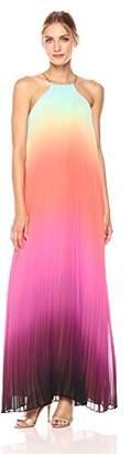 Trina Turk Women's Plume Summer Sunset Ombre Pleated Chiffon Dress