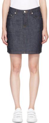 A.P.C. Navy Denim Standard Miniskirt $125 thestylecure.com