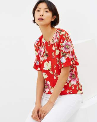 Warehouse Floral Frill Cuff Top