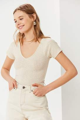 Urban Outfitters Laurie Ribbed-Knit Short Sleeve Sweater