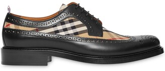 Burberry Brogue Detail Leather and Vintage Check Derby Shoes
