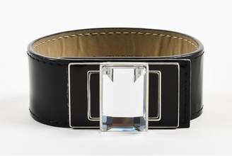 Swarovski Black Patent Leather Enamel Emerald Cut Crystal Turnlock Cuff