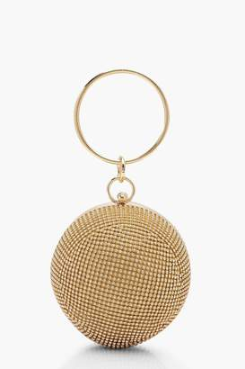 boohoo All Over Diamante Sphere Ring Handle Bag