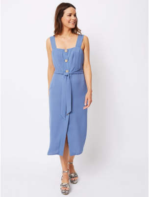 George Blue Button Front Midaxi Dress