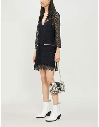 Sandro Lina contrast-trim geometric-lace woven dress