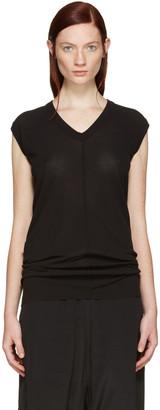 Rick Owens Black V-Neck T-Shirt $340 thestylecure.com