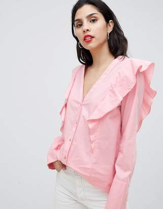 Vila Ruffle Shoulder Blouse