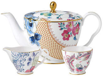 Wedgwood NEW Butterfly Bloom Teapot, Sugar & Cream Set
