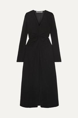 ROTATE - Gathered Metallic Stretch-knit Midi Dress - Black