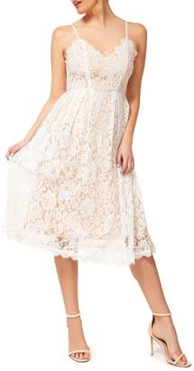 Occasion By Dex Floral Lace Midi Fit--Flare Dress