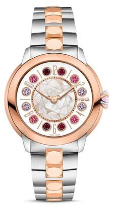 Fendi IShine Rotating Gemstones Two-Tone Watch, 33mm