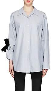 Prada Women's Bow-Detailed Striped Cotton Shirt - Blue